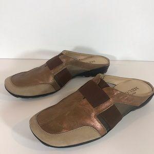 Destiny Meucci copper and tan suede mules